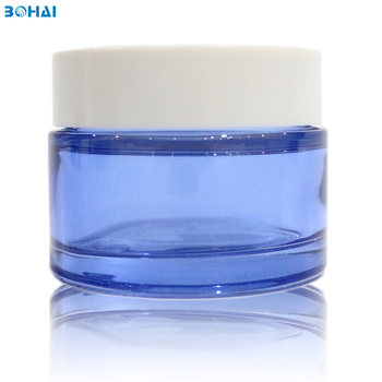 bohai glass  50ml 50g  blue screw cap  glass cosmetic bottles and jars