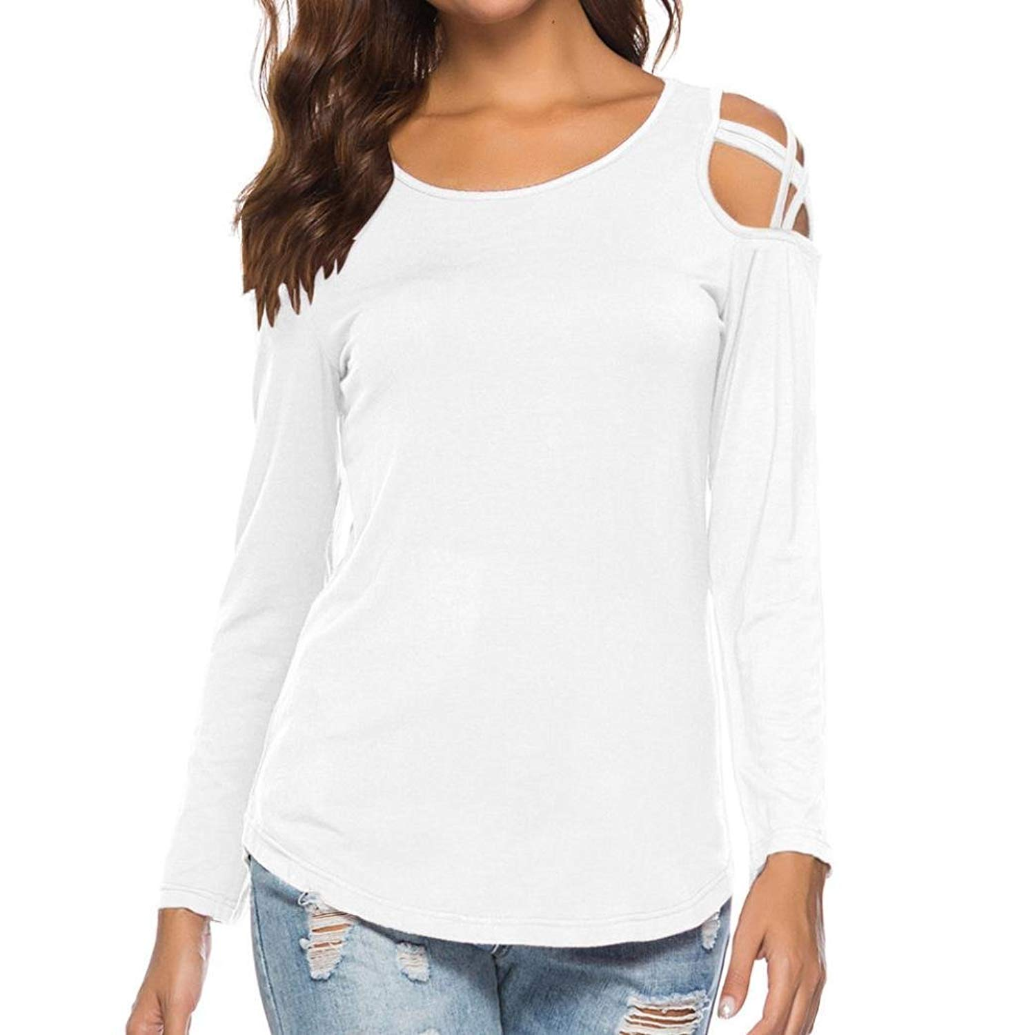 b0c3258420e0e2 Get Quotations · HTHJSCO Womens Loose Strappy Cold Shoulder Tops Basic T  Shirts