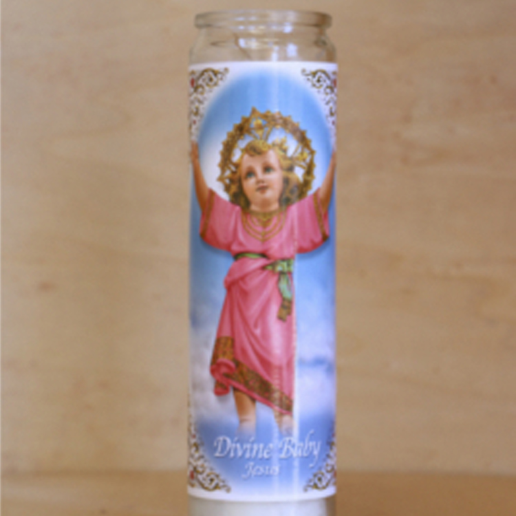 White Poured Unscented Real Wax Catholic Prayer Candles in tall glass jar