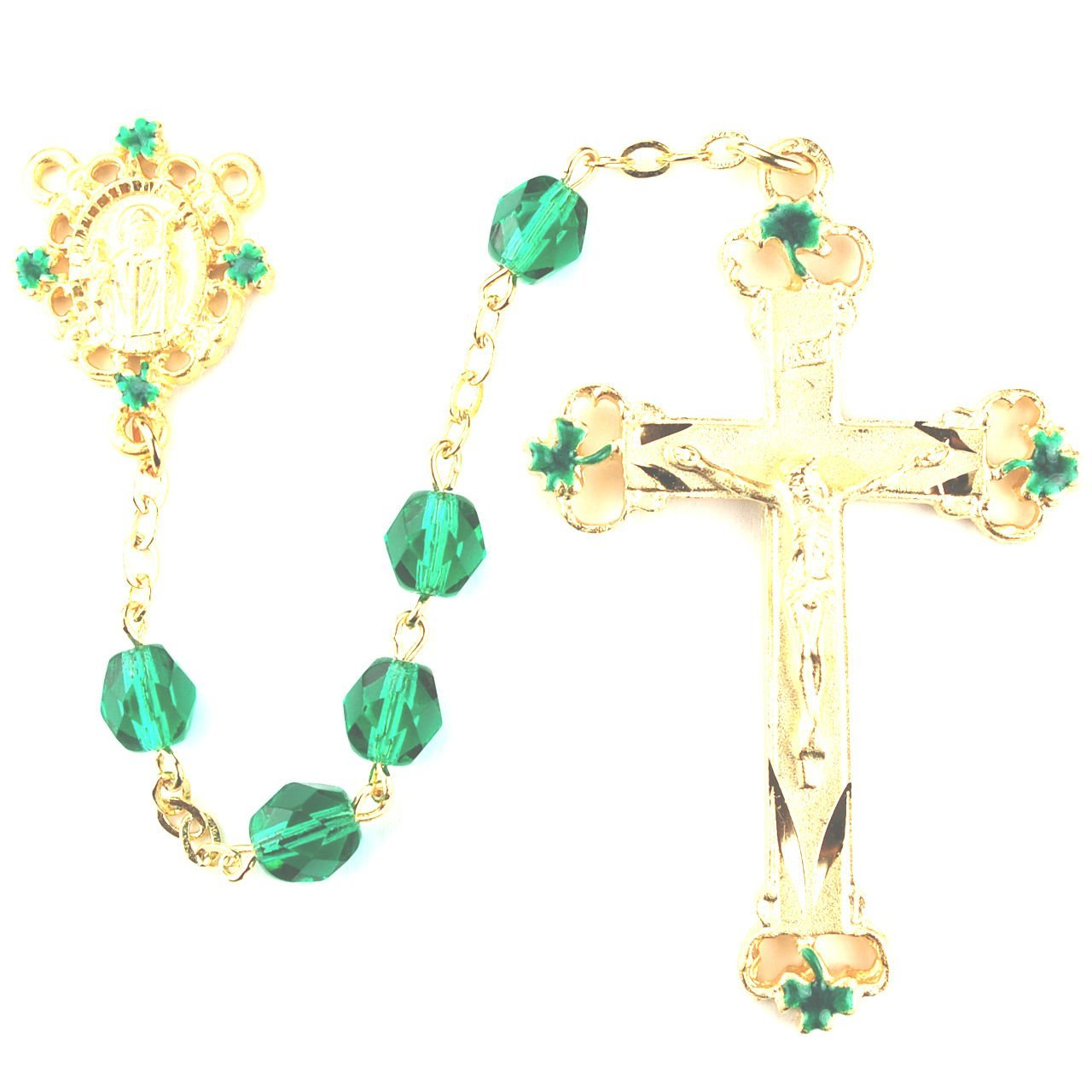 Green and Black St. Patrick Irish Catholic Rosary Beads. 7mm Green and Black Glass Beads and a Gold Plated Over Pewter Crucifix and St. Patrick Centerpiece with Green Enameled Shamrocks on the Crucifix and Centerpiece.