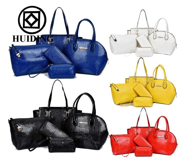 2015 New design women Corcodile bag factory supplier five bags in one set wholesale lady handbag