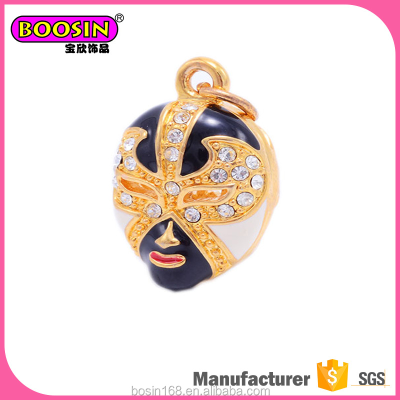 Extraordinary chinese style theatrical mask pendant epoxy jewelry golden charms