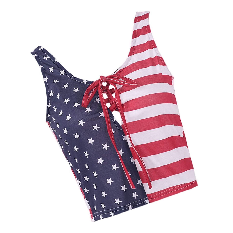 8482251345a Get Quotations · Baoblaze Womens Ladies USA American Flag Sleeveless Vest  Stripe Star Crop Top O-Neck T
