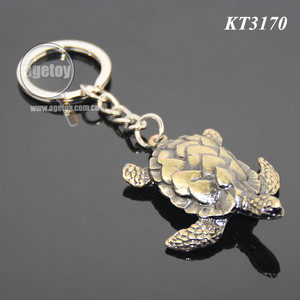 Three-dimensional Tortoise Shaped Zinc Alloy Plated Bronze Metal Sea Green Turtle Keychain