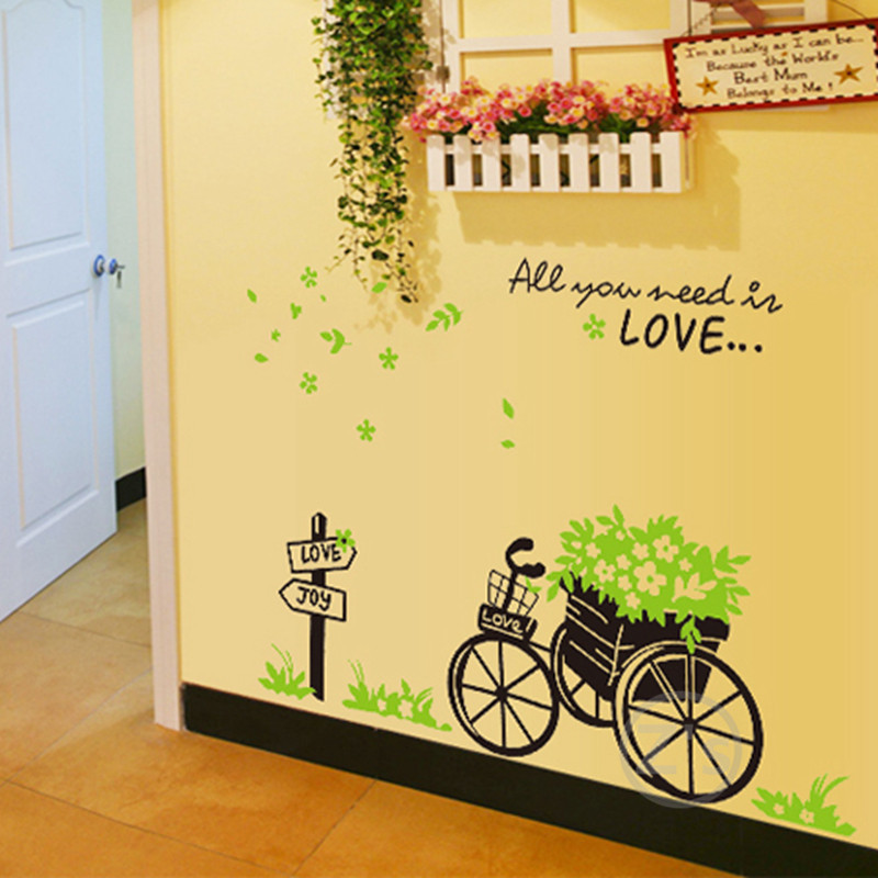 cheap wall decals bike stickers bicycle wall sticker home decor diy mural picture poster. Black Bedroom Furniture Sets. Home Design Ideas