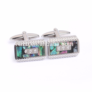 Fashion Carved Stainless Steel Polished MOP Cuff Links