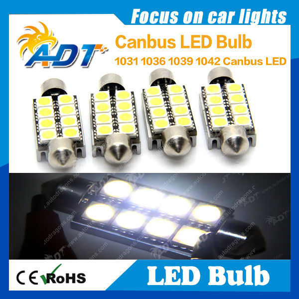 with aluminium heat sink canbus no error Festoon 1039 1042 8XSMD5050 led bulb white color