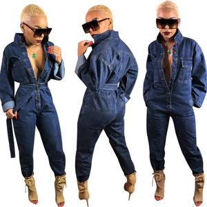 3b436cb20ca Wholesale Fashion Hot Sale Long Sleeve Ladies Jeans Loose Front Button  Denim Jumpsuit Women