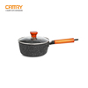 Aluminum wooden handle marble sauce pan milk pan