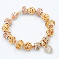 European and American creative colored glaze beads gold jewelled diamond bracelet.