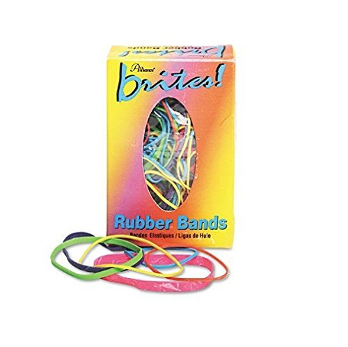 Alliance Rubber Products - Rubber Bands, 1-1/2 oz., BE/OE/YW/LE/PE/PK - Sold as 1 BX - Brites Hot-Color Rubber Bands are color-coded by size for quick, easy use. Feature #16 Blue, #18 Orange, #19 Yellow, #32 Lime, #33 Purple and #64 Pink. Rubber bands come in an easy-to-use dispenser box that fits