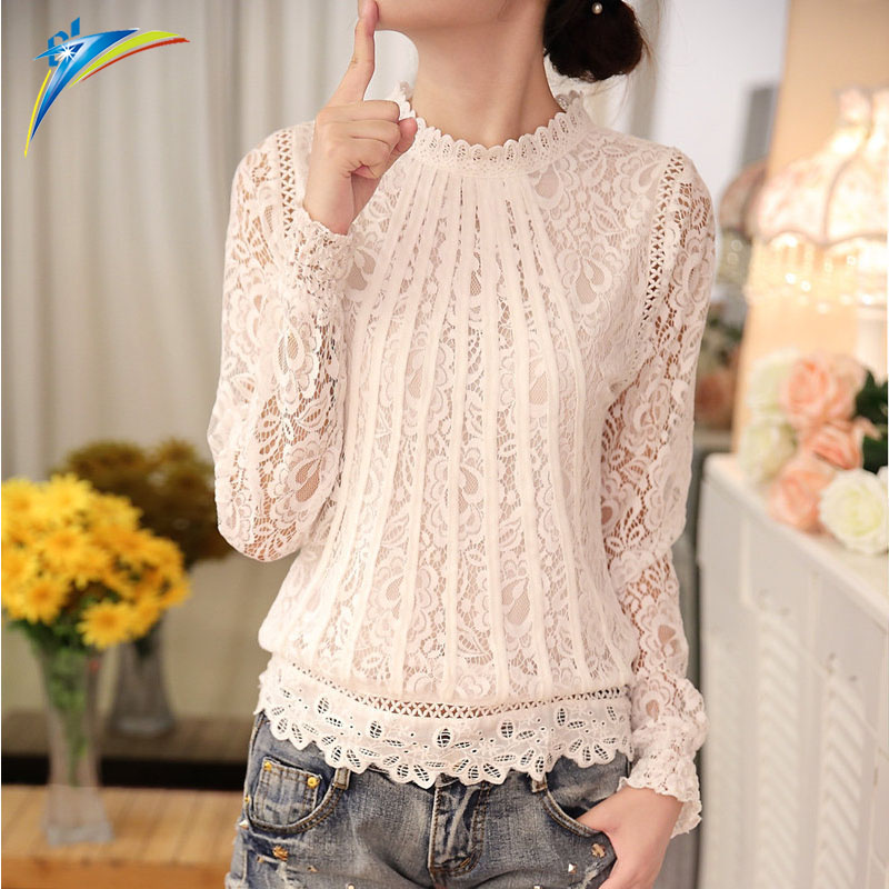 New Summer Ladies White <strong>Blouse</strong> Women's Long Sleeve <strong>Lace</strong> Crochet Tops Clothing Feminine <strong>Blouse</strong>