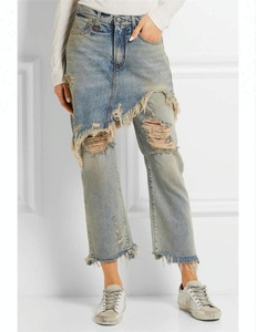 Royal wolf denim skirt manufacturer trouser skirt guangzhou factory worn wash destroyed ripped tassels ragged torn pants skirt