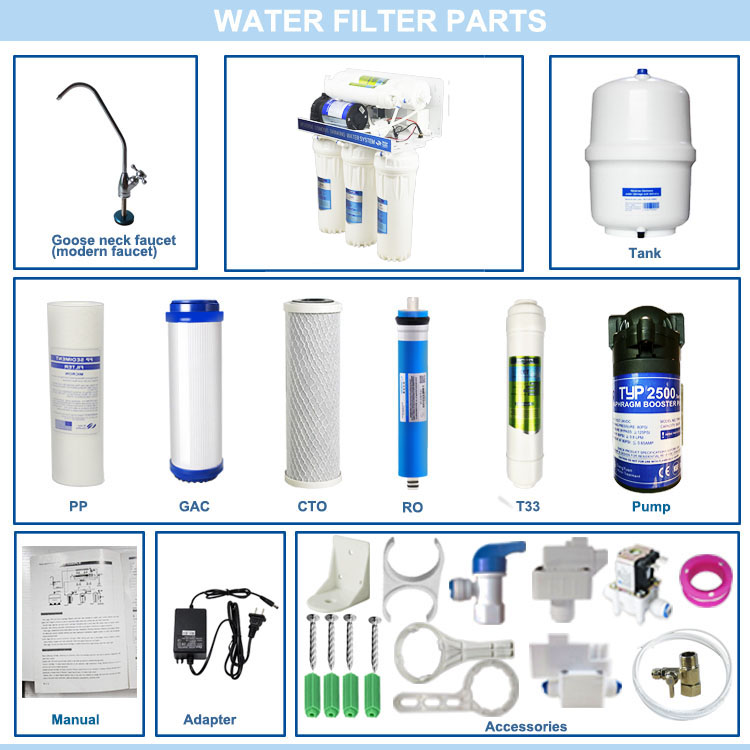 Best aqua home pure kitchen electric 5 stage reverse osmosis ro 50g / ro-50g drinking water filter system for drinking