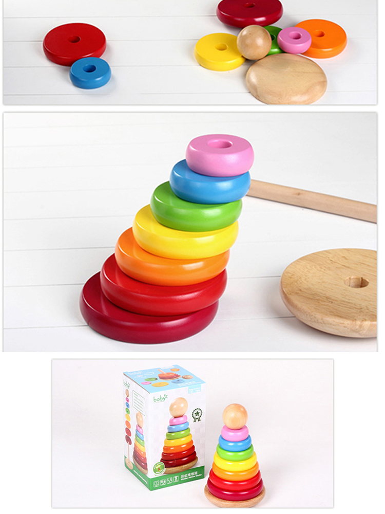 Kids Educational Colorful Stacking Ring Toy Wooden Rainbow Tower Of Hanoi
