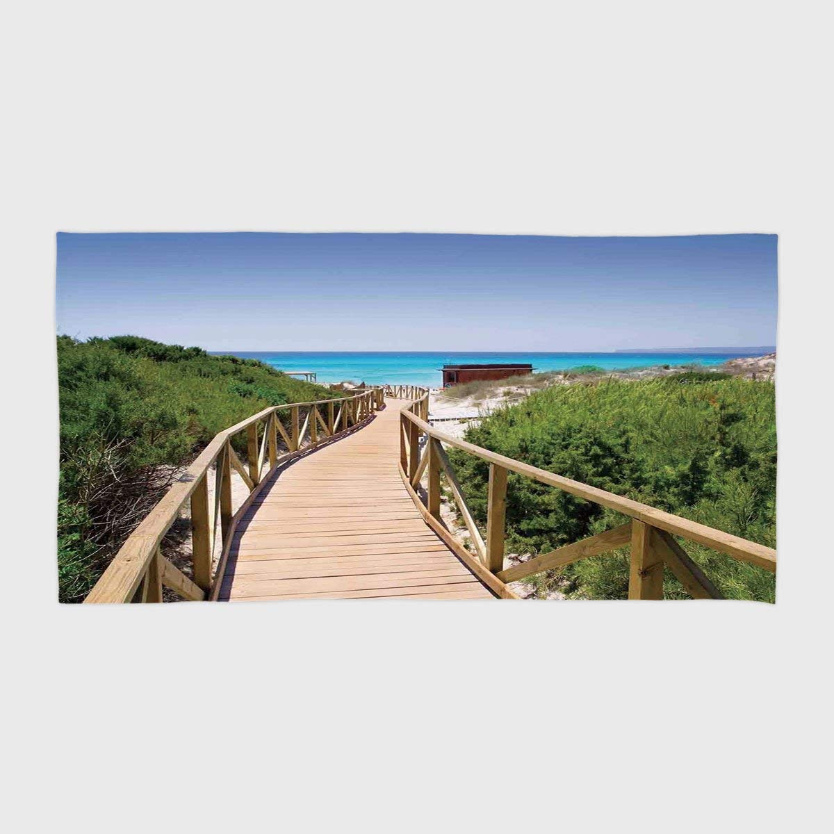 One Side Printing Hotel SPA Beach Pool Bath Hand Towel,Beach Beach Pathway over the Woodland in Spain Countryside Cottage Summer Sun Print Green Cream Blue,for Kids Teens and Adults