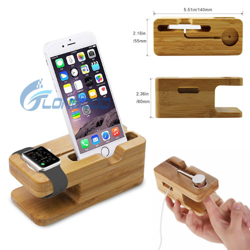 Wholesale brand new multiple bamboo phone charger docking station for iphone and watch