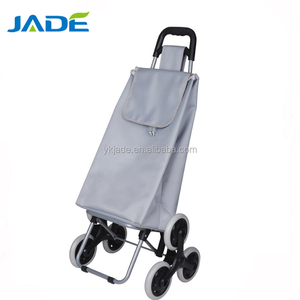 hand trolley cart 3 wheels double tier cargo push cart stair climber shopping trolley