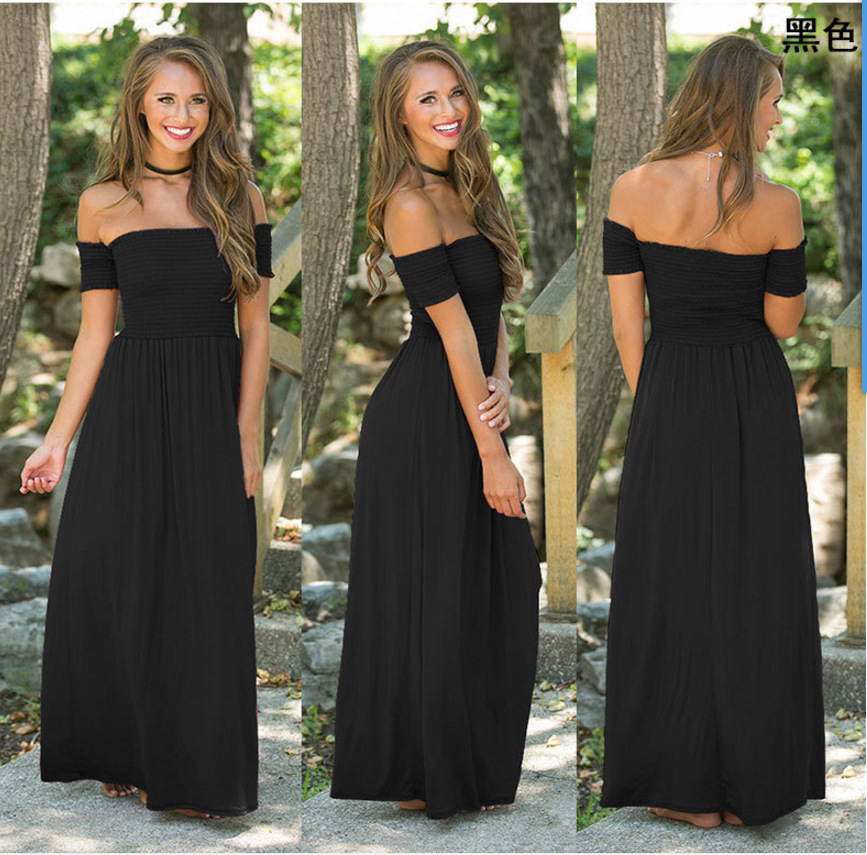 f23f540205 Wholesale Sexy strapless beach summer dress sundresses vintage maxi dress  Boho women pure color long dress