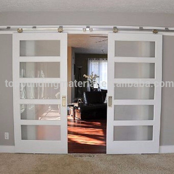 Practical Interior Frosted Glass Insert Wooden Sliding Barn Door