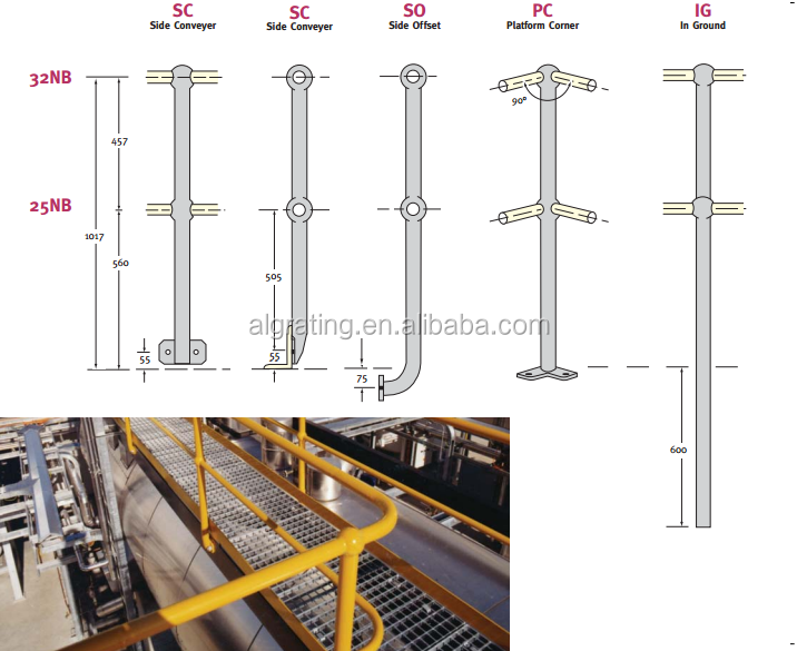 steel stanchion and handrail