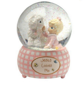 Factory Custom made best home decoration snow globe gift polyresin baby birth souvenirs