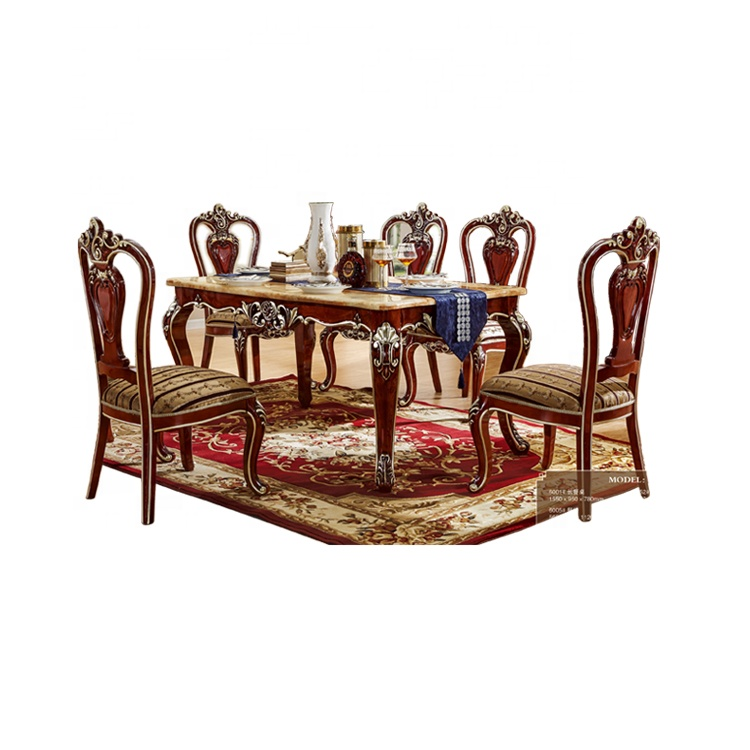 Royal Classic European Style Wooden Dining Table Set for 6 People