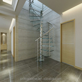 Saving Space Spiral Stair / Steel Grill For Glass Steps Spiral Staircase