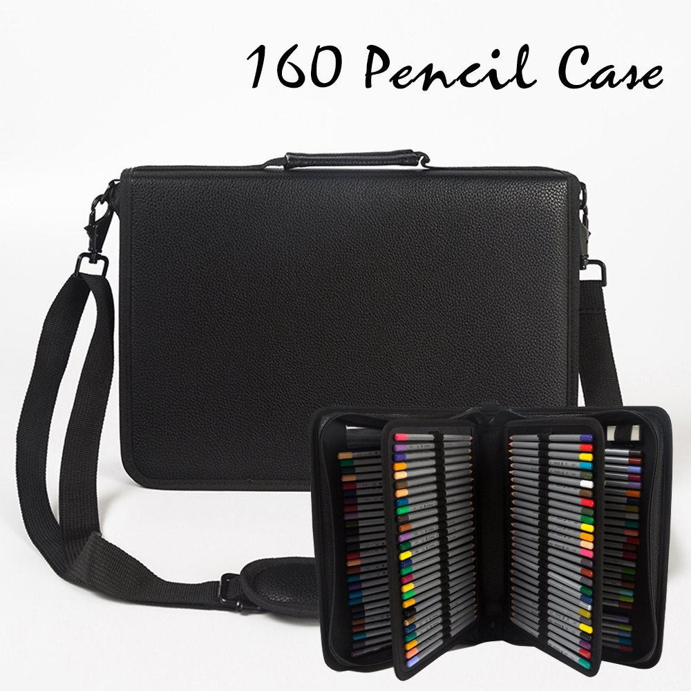 DoDoMall Pu Leather Pencil Case for Colored Pencils, 160 Slots Colored Pencil Holder Pen Bag Pouch for Prismacolor Watercolor Pencils, Crayola Colored Pencils, Marco Pens and Cosmetic Brush (Black)