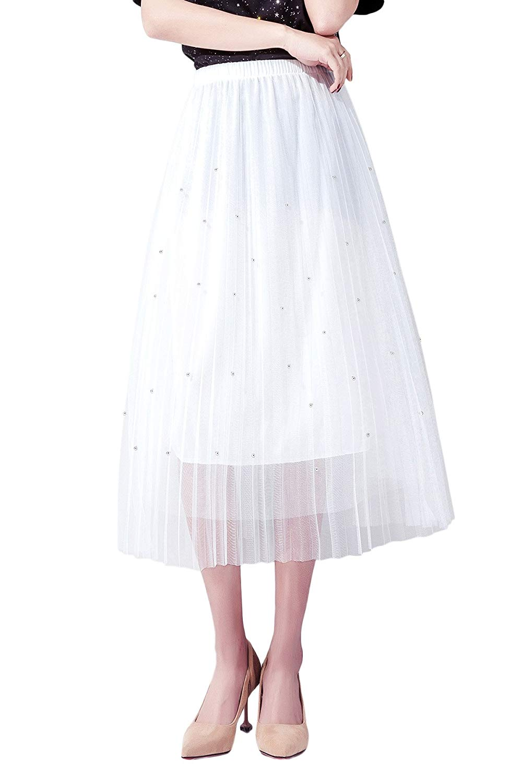 2e9ca9e2b6 Get Quotations · Oriarm Girls A Line Pleated Mesh Midi Skirt High Waist  Lace Fairy Skirt Elastic Waist Chiffon