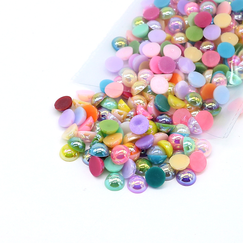 loose mix color flat back pearl beads in bulk FP11
