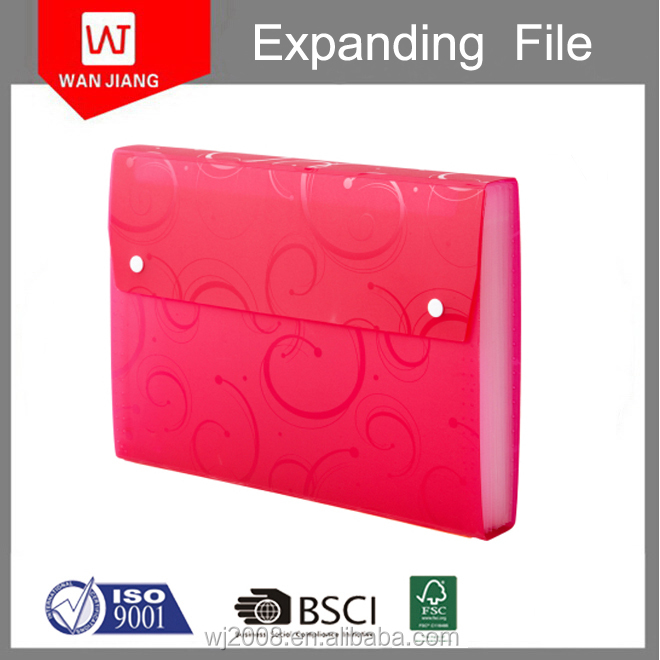 Newly hot sale wareproof decoration PP multi pockets file folder with fastener