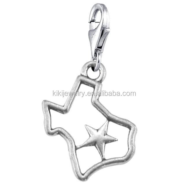Simple Design Antique Silver Plated Five-pointed Star In Open Texas Map <strong>Charm</strong> With Lobster Clasp