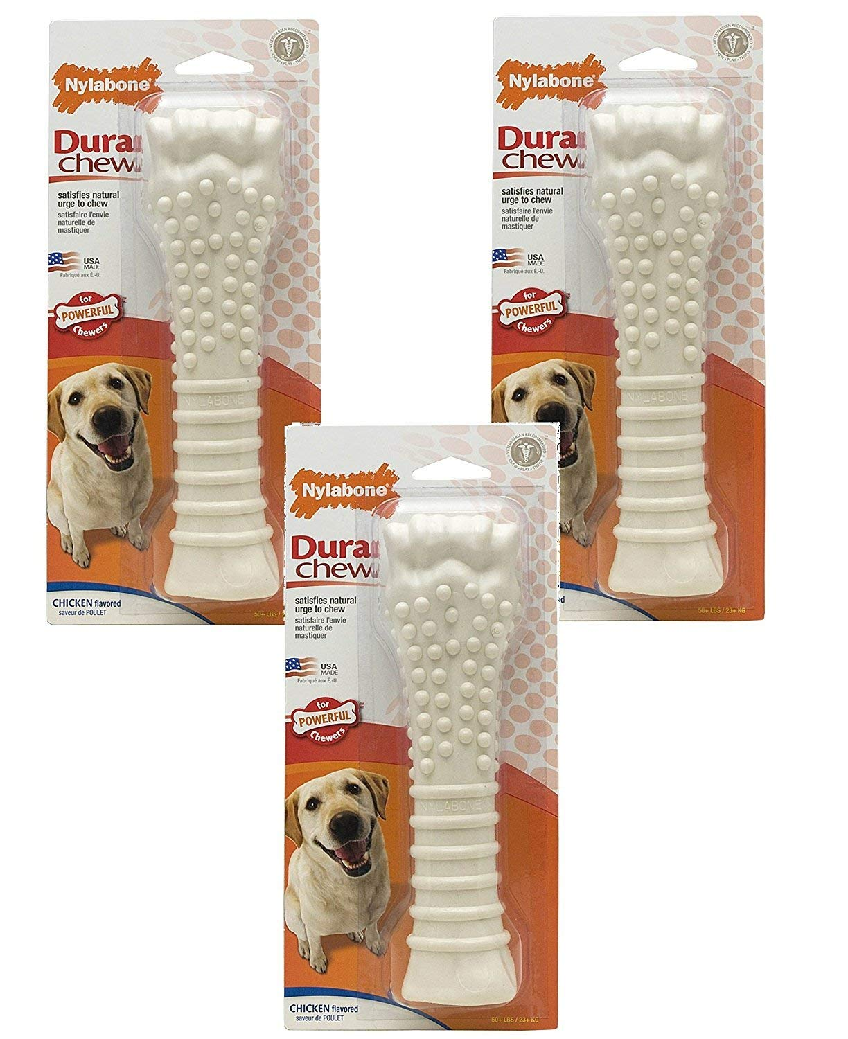 (3 Pack) Nylabone Dura Chew Souper Chicken Flavored Bone Dog Chew Toys