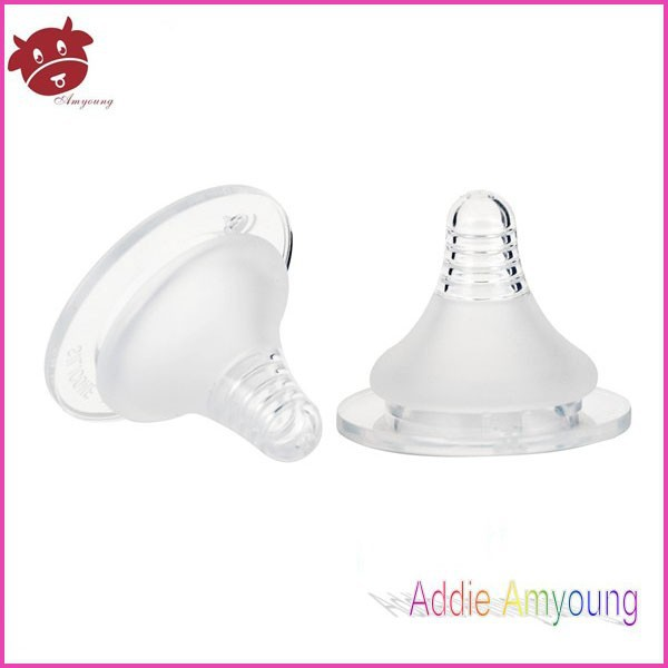 Sample free normal/wide mouth transparent silicone teat baby feeding bottle nipple silicone nipple