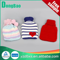 large knitted hot water bag with cover red thin stripes with fashion balls