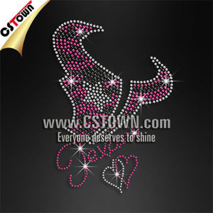 Wholesale custom pink Texans buffalo rhinestone transfer