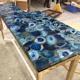 blue agate slab for dinner dining table counter top wall used