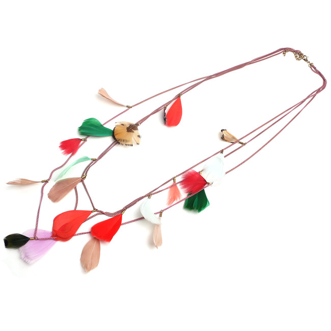 boho feather full neck covering necklace design layered chain colorful