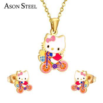 9d059c561 Fashion girls/kids cartoon jewelry stainless steel hello Kitty cat pendant  necklace earrings set