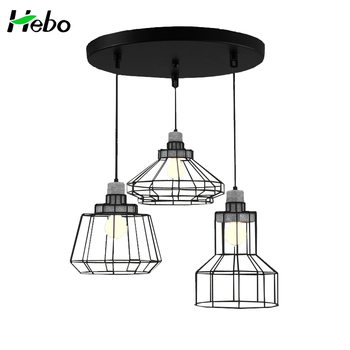 Adjule 3 Lights Concrete Iron Wire Cage Pendant Lamp Retro Light Fixtures In China Made Of