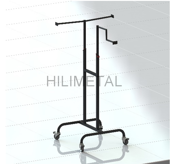 Metal movable single garment clothes shop rack standing display shelf