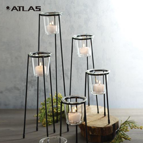 Custom industrial style candle holder steel candlesticks with black coated for home wedding decoration