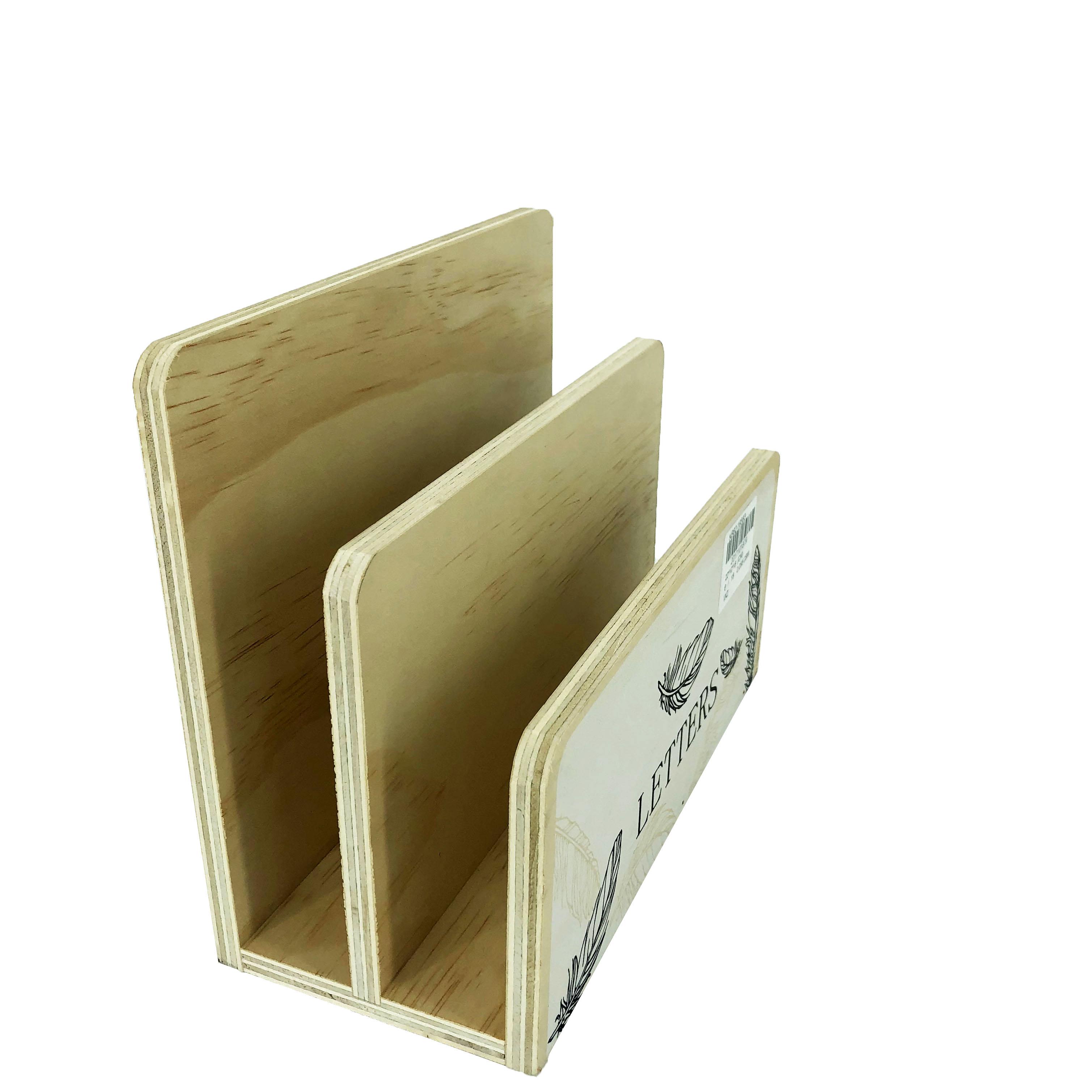 Office Stationery Desk Organizer Wood Mail Letter File Holder