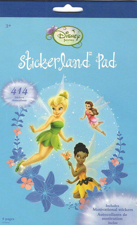 "Disney Stickerland Pad ~ Disney Fairies (Fairy Friends; 414 Stickers, Including Motivational Stickers; 5.75"" x 9.5"")"