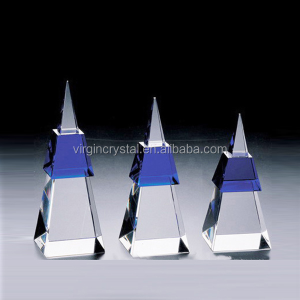 Cheap crystal glass pyramid award replica trophy for sale