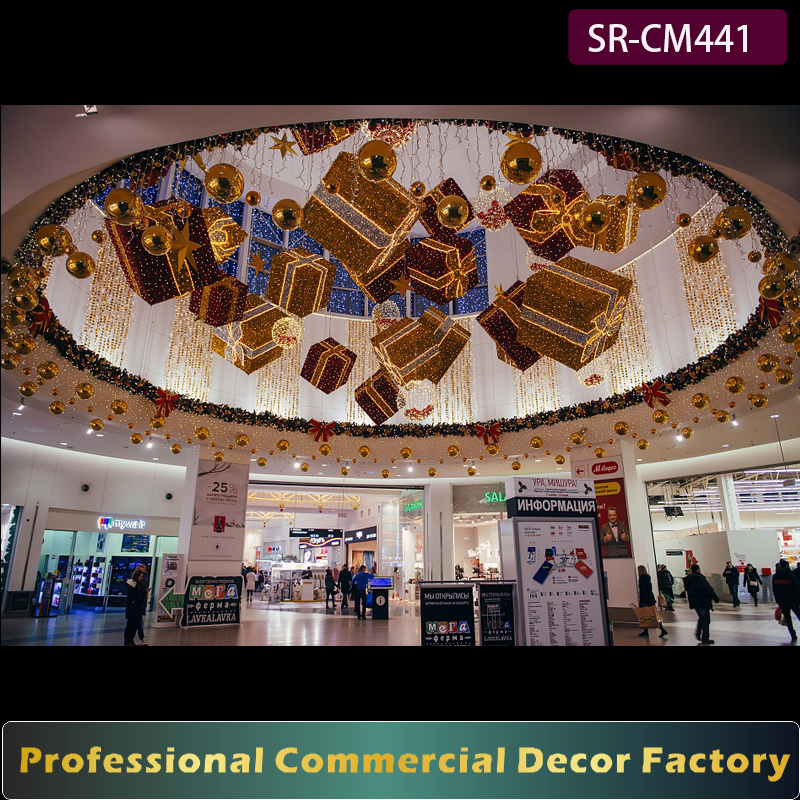 Customize commercial Christmas shopping center ceiling hanging giant led Christmas gift box