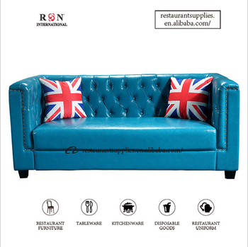 Custom Modern Dining Sofa Couch Blue Upholstery Leather For Restaurant