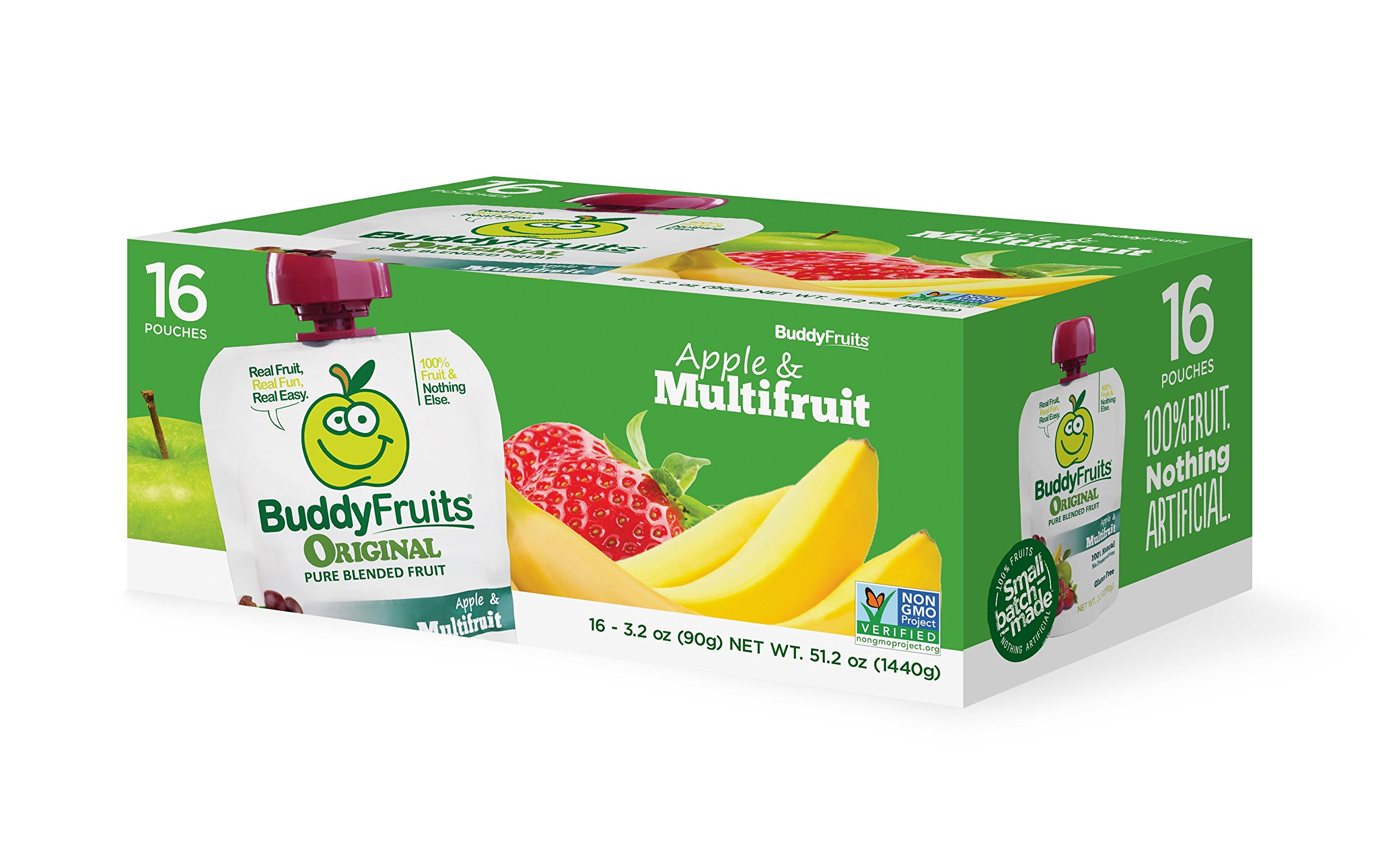 Buddy Fruits Original Blended Fruit Squeeze Snack Pouches, Apple & Multifruit, 16 Count