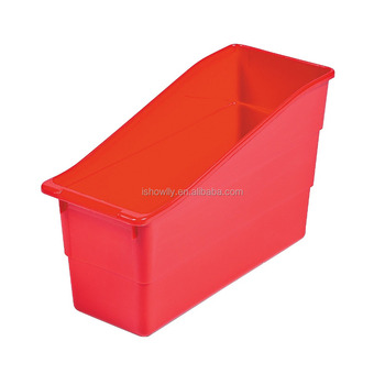 Whole Durable Book And Binder Holders Storage Tubs Custom Box Red Plastic Clroom Organizer